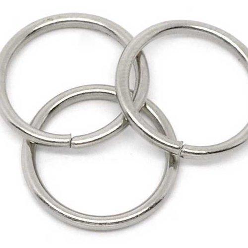 10 anneaux simples ouverts - anneaux de jonction - ronds - 16mm - argent mat (aro16am)