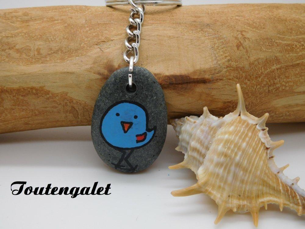 """Porte Clés """" L'Oiseau bleu  """" / galet de plage, peinture acrylique"""