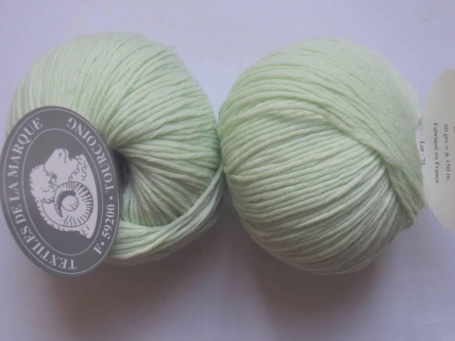 5 pelotes laine-cachemire vert pâle