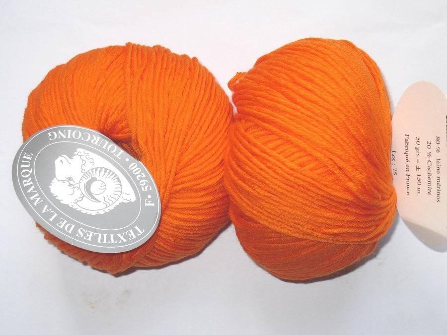 5 pelotes laine- cachemire orange