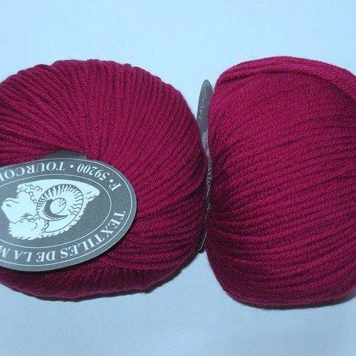 fabriqué en FRANCE 5 pelotes de laine //100/% mérinos// framboise 445