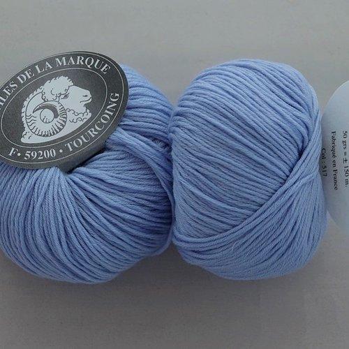 5 pelotes  laine mérinos et cachemire bleu 517 textiles de la marque