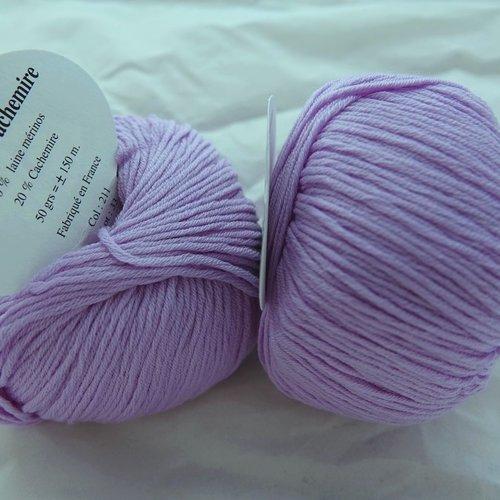 5 pelotes  laine mérinos et cachemire mauve 211 textiles de la marque