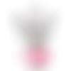 1 bijoux pendentif breloque ailes ange rose perles fait main 2.9x1.8cm