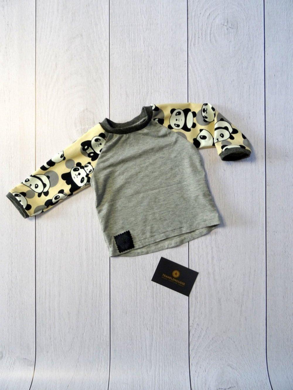 T-shirt manches longues pour bébé gris et pandas crème