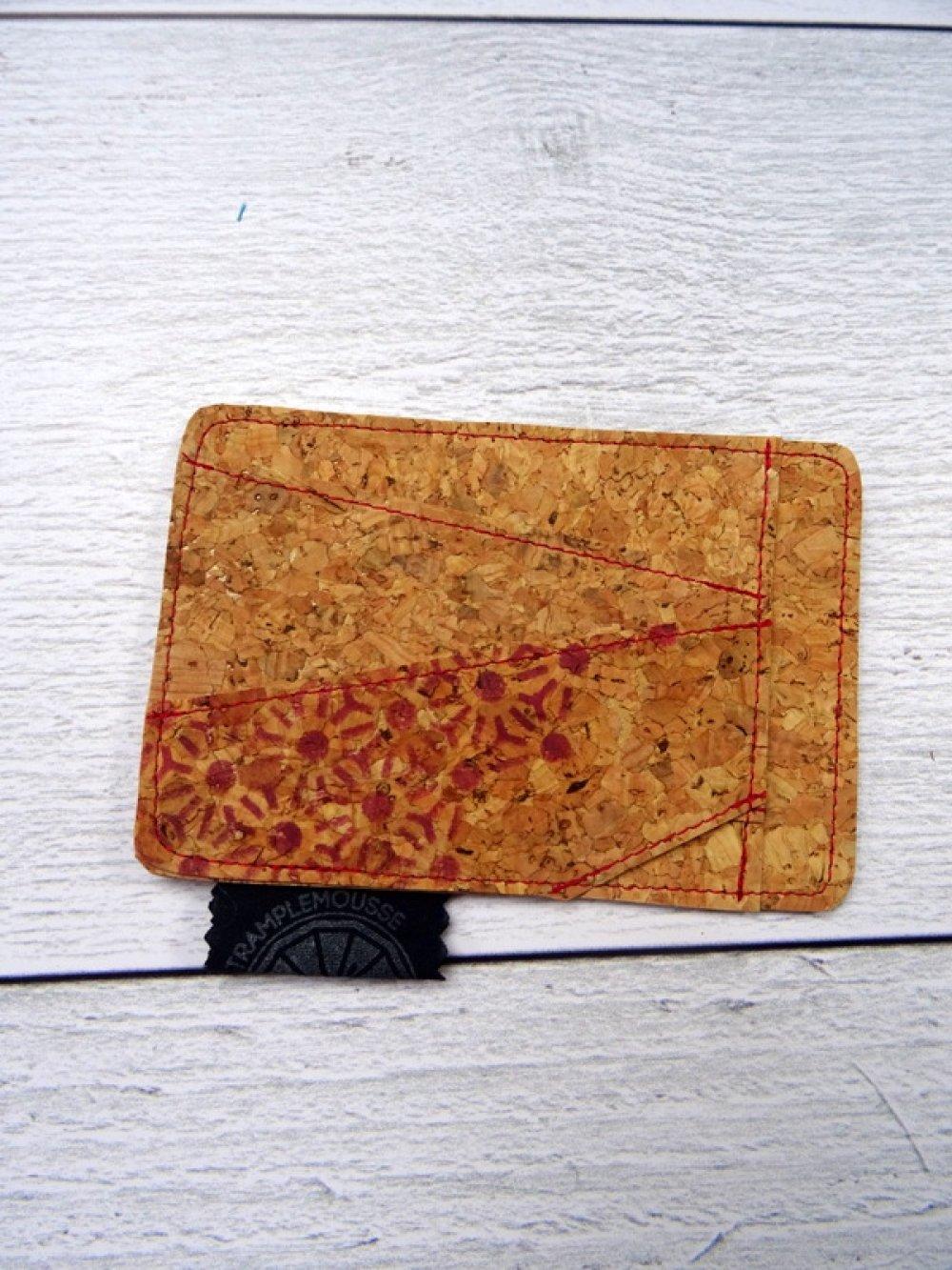 Porte-carte liège à motif Japonais Asanoha rouge