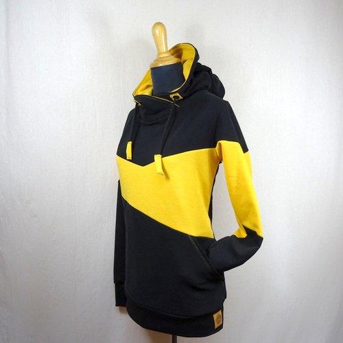 Sweat à capuche femme jaune et noir