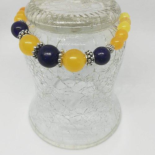 Bracelet pierres naturelles lapis-lazuli et citrine