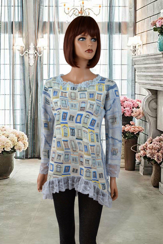 Pull, tunique, blouse , Sweat-shirts en soie  et  laine merinos  fait main feutree