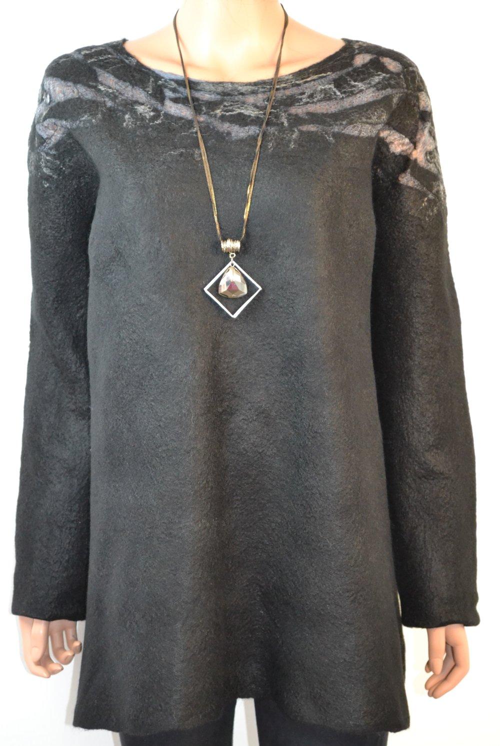 Sweat-shirts  pull en  laine mérinos  et soie  feutree noir gris