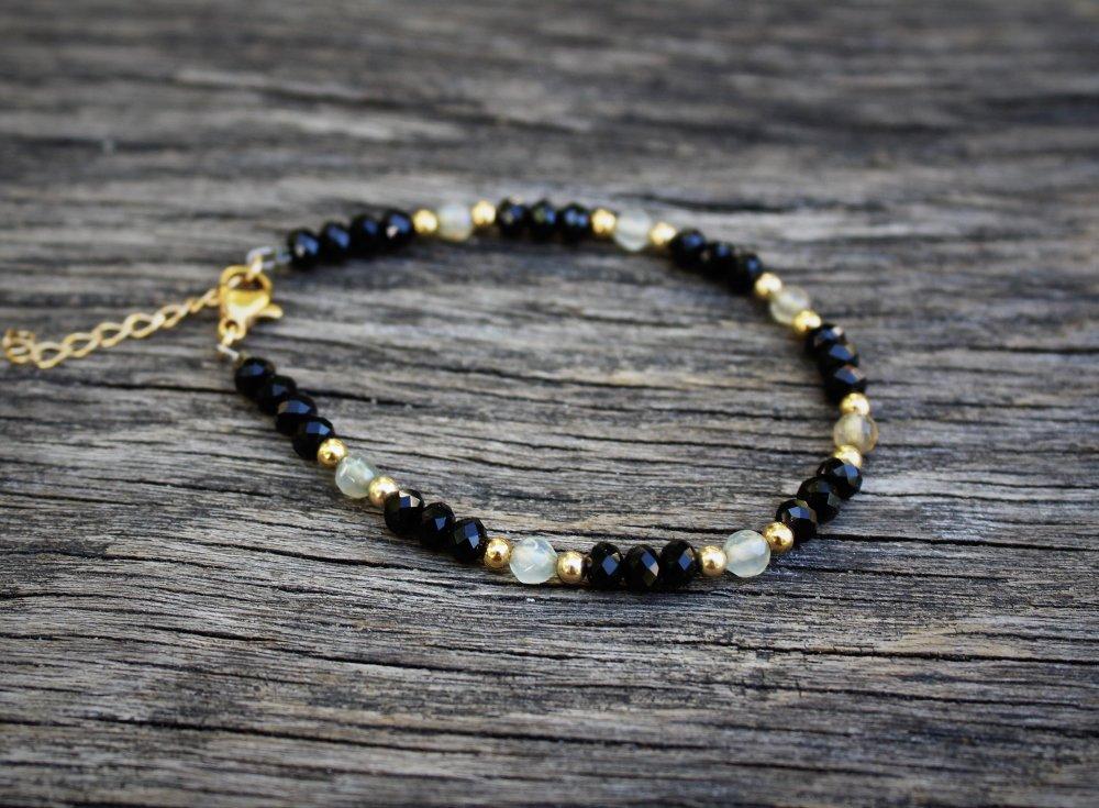 Bracelet perles pierres verres plaqué or bohème chic minimaliste