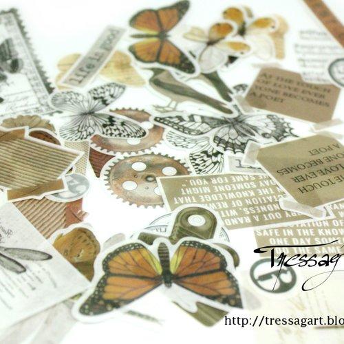 Sachet 64 stickers vintage - cabinet de curiosités