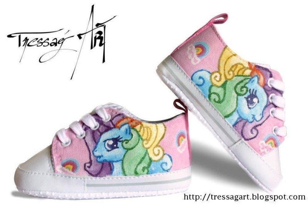Custom Shoes Baskets Bébé 6-12M - Petit Poney Rose - Little pony - chaussures customisées