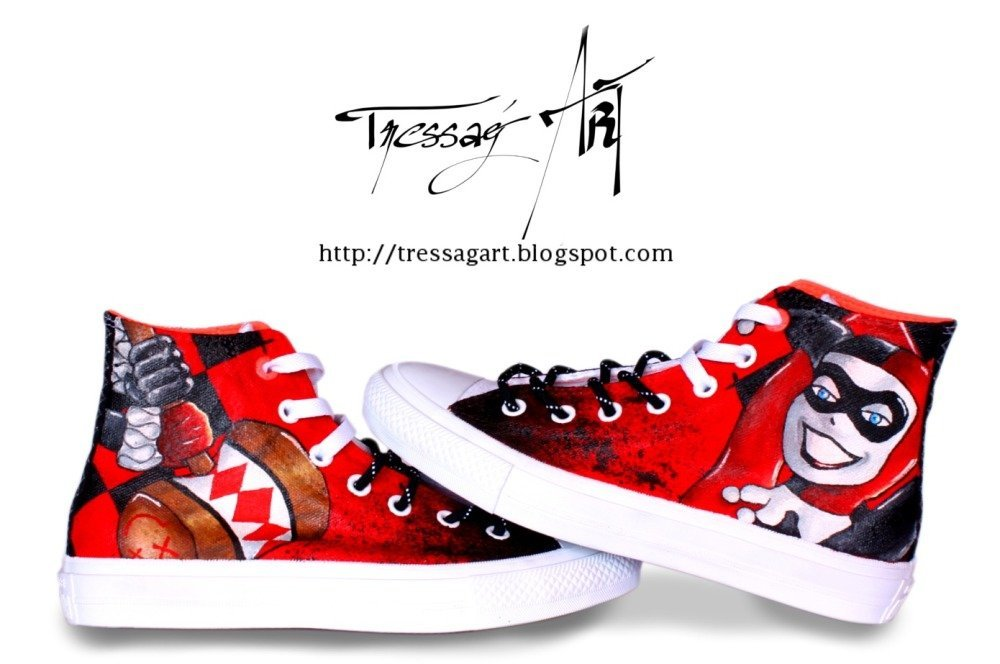 Custom shoes baskets converse harley quinn converse customisées harley quinn