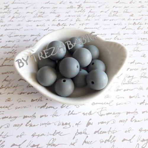 Perle ronde 15 mm silicone pour bébé gris fonce