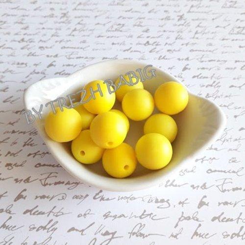 Perle en silicone ronde de 15 mm silicone alimentaire Jaune lot de 3