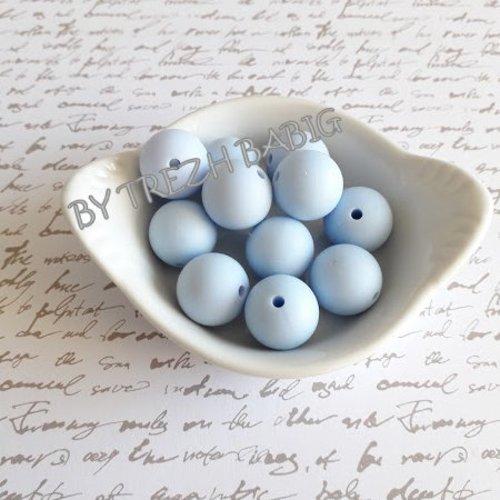 Perle ronde 15 mm silicone pour bébé bleu pastel