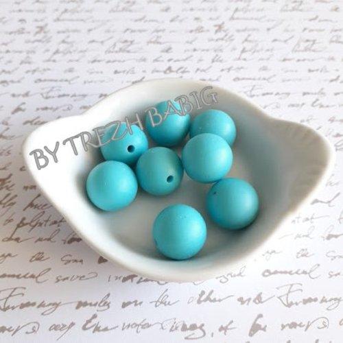 Perle ronde 15 mm silicone pour bébé bleu moyen scuba