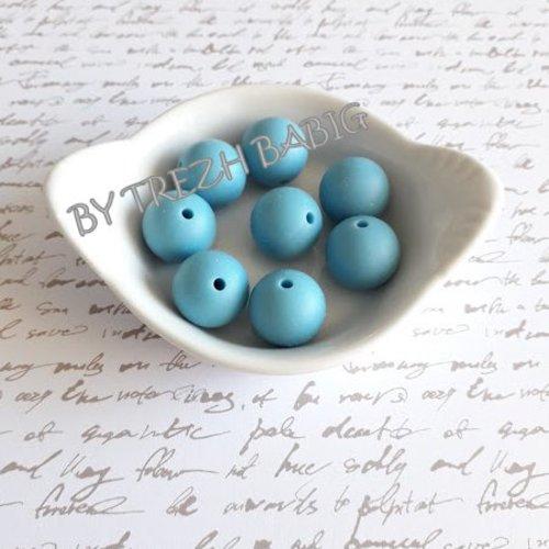 Perle ronde 15 mm silicone pour bébé bleu gris licorice