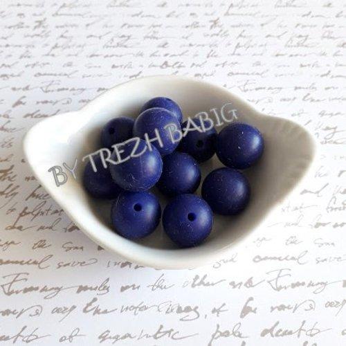 Perle ronde 15 mm silicone pour bébé violet bleu navy