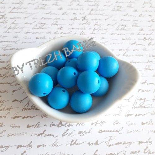 Perle ronde 15 mm silicone pour bébé bleu aqua sky