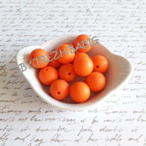Perle ronde 15 mm silicone pour bébé orange