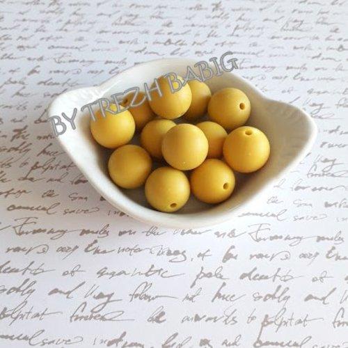 Perle ronde 15 mm silicone pour bébé jaune mangue