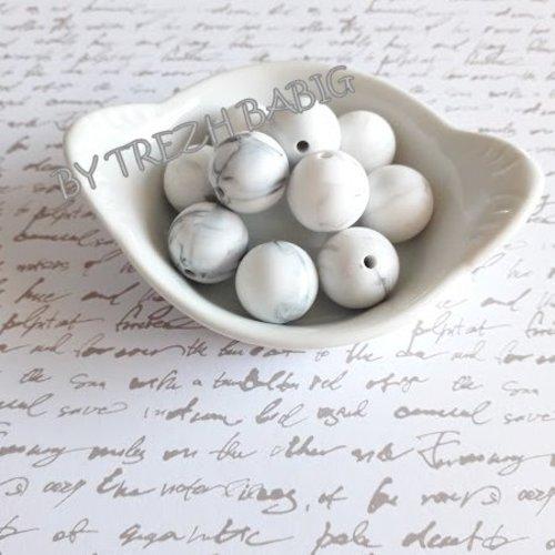Perle ronde 15 mm silicone pour bébé blanc marbre
