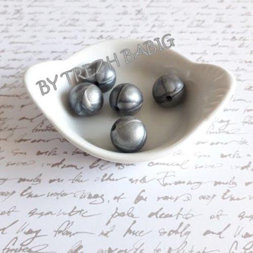Perle ronde 15 mm silicone pour bébé gris argent nacre