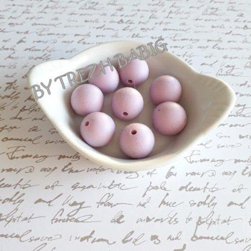 Perle ronde 15 mm silicone pour bébé mauve clair