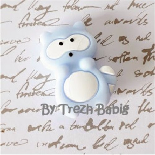 Perle silicone raton laveur bleu clair