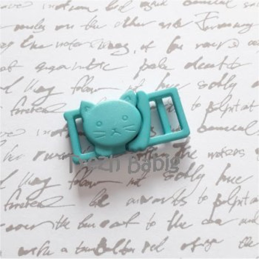 Boucle clip attache chat turquoise