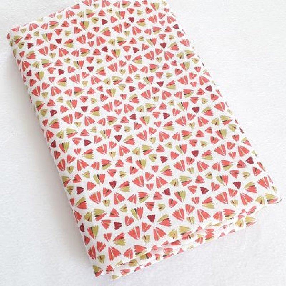 Tissu coton coupon 50x150 cm petites fleurs zantem rose anis