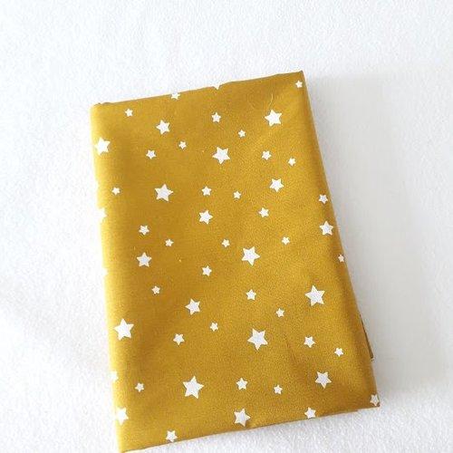 Tissu coton coupon 50x150 cm étoile jaune moutarde ocre