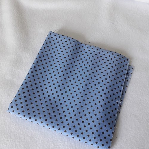 Tissu coton coupon 50x50 cm pois bleu/marron