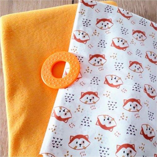 Lot tissu micro polaire jaune moutarde coton renard
