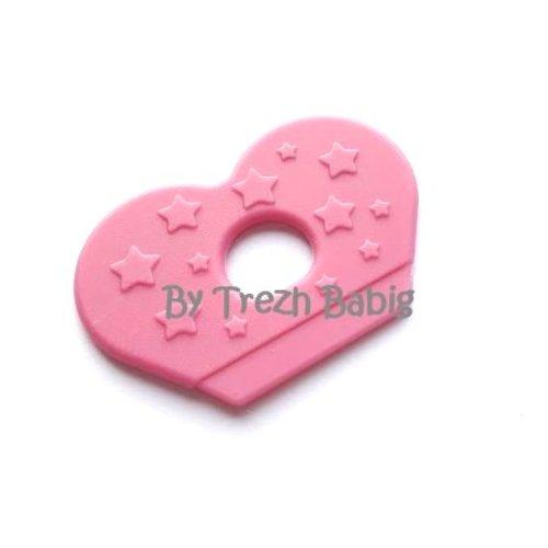 Anneau dentition bébé aile papillon rose