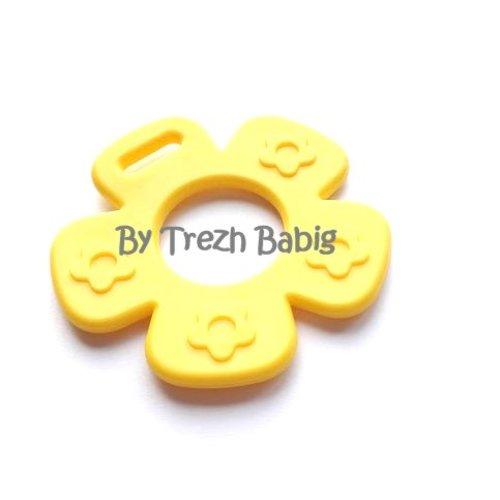 Anneau de dentition fleur modèle 2 jaune