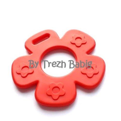 Anneau de dentition fleur modèle 2 rouge