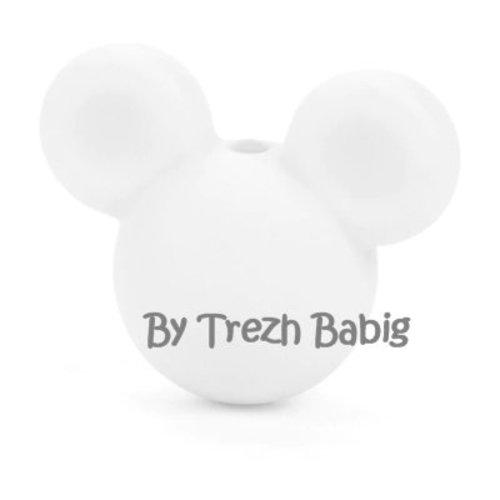 Perle silicone tête de souris style mickey blanc