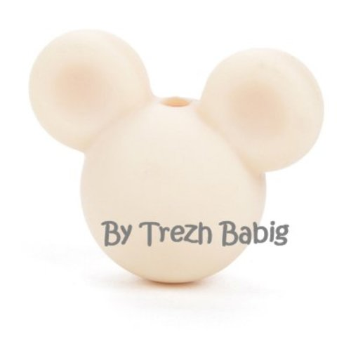 Perle silicone tête de souris style mickey ivoire