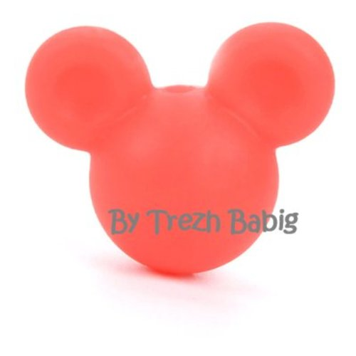 Perle silicone tête de souris style mickey rouge