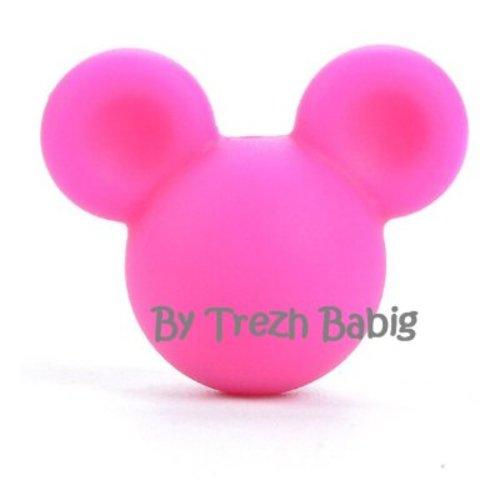 Perle silicone tête de souris style mickey rose fuschia