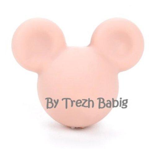 Perle silicone tête de souris style mickey rose pêche