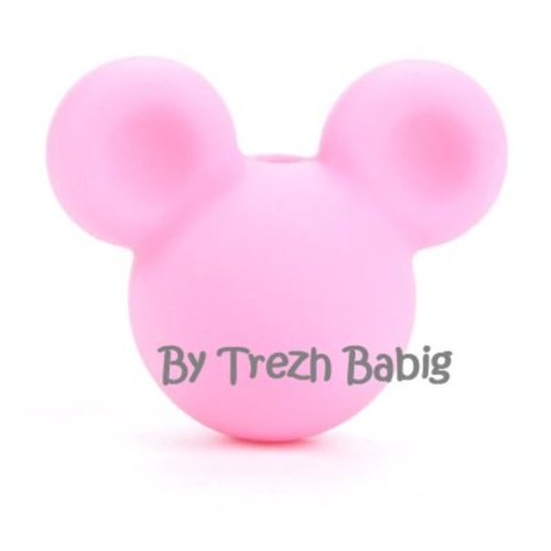 Perle silicone tête de souris style mickey rose clair