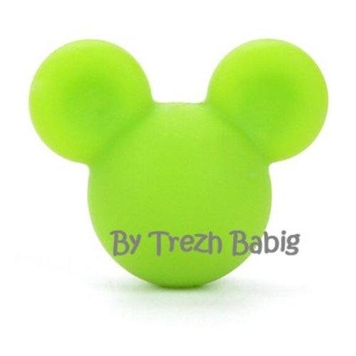 Perle silicone tête de souris style mickey vert pomme