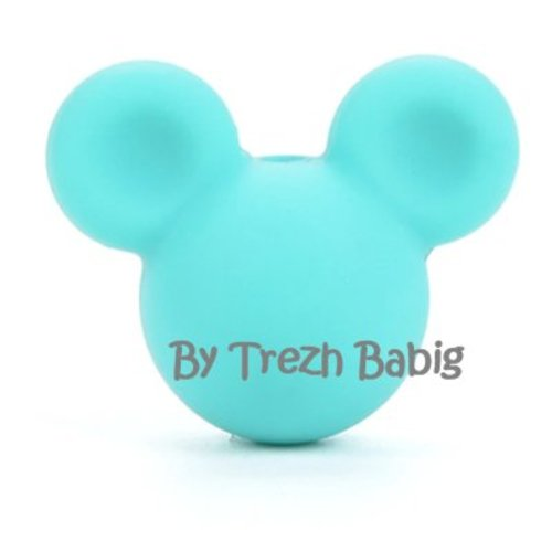 Perle silicone tête de souris style mickey vert turquoise