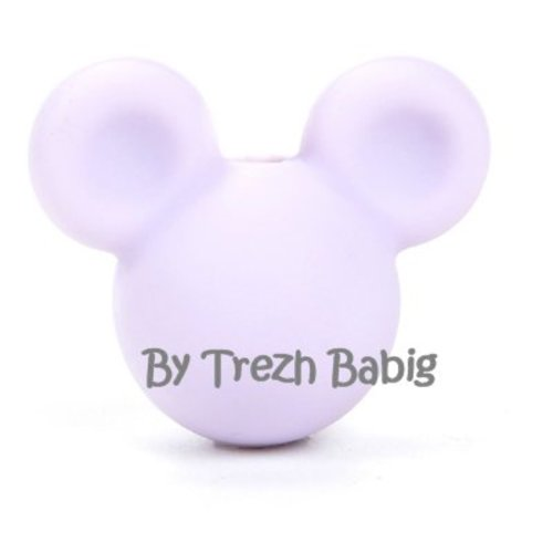 Perle silicone tête de souris style mickey mauve lavande