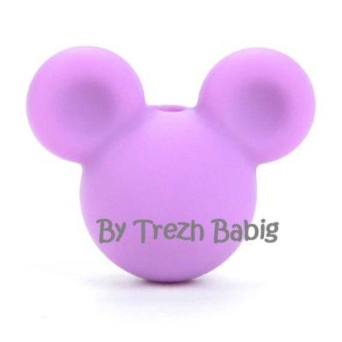 Perle silicone tête de souris style mickey mauve