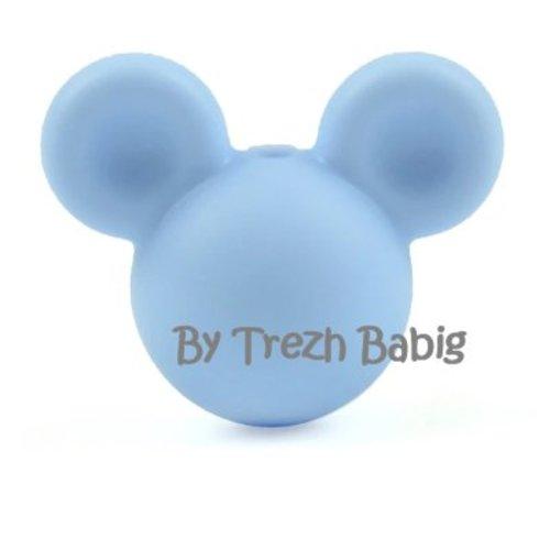 Perle silicone tête de souris style mickey bleu orage